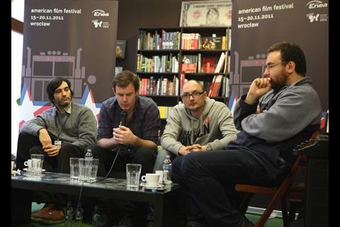 Septien director Michael Tully (far left) and Joe Swanberg (with microphone) talk about low budget filmmaking.